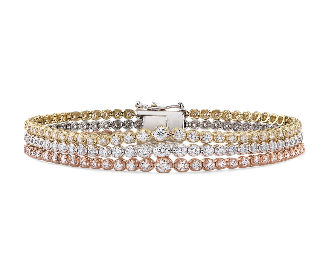 6624c850b44b47 Triple Row Graduated Diamond Tennis Bracelet in 14k White, Yellow and Rose  Gold (4 ct. tw.) | Blue Nile