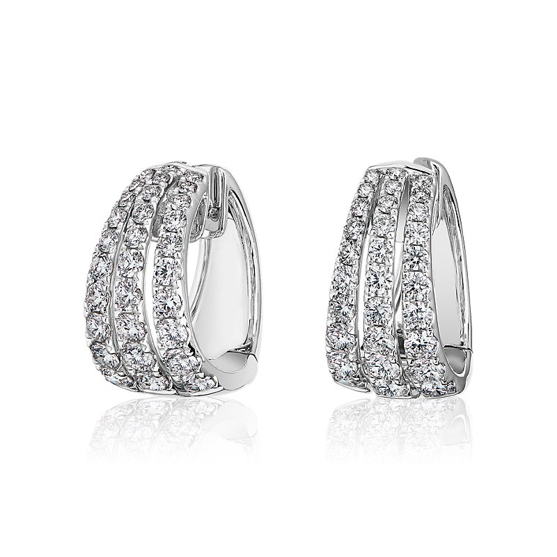 Triple Row Graduated Diamond Huggie Hoop Earrings in 14k White Go