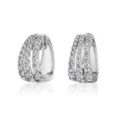 Triple Row Graduated Diamond Huggie Hoop Earrings in 14k White Gold (2 5/8 ct. tw.)