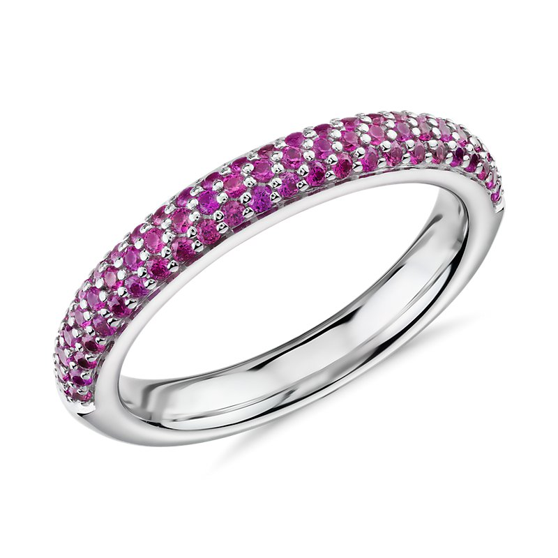 Triple Row Pavé Ruby Fashion Band in 14k White Gold (1.1mm)