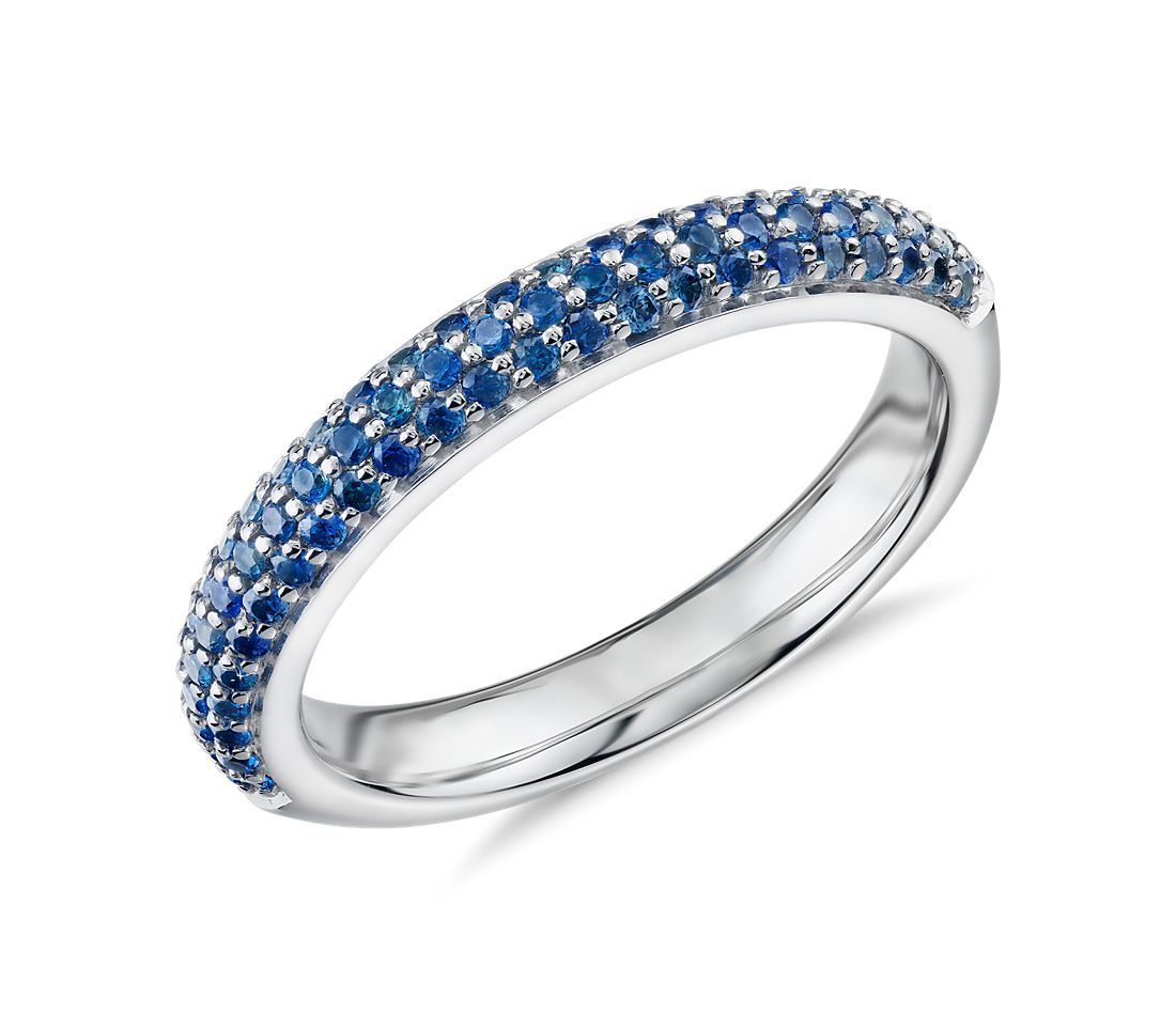 Triple Row Pavé Sapphire Fashion Band in Or blanc 14 carats (1.1mm)