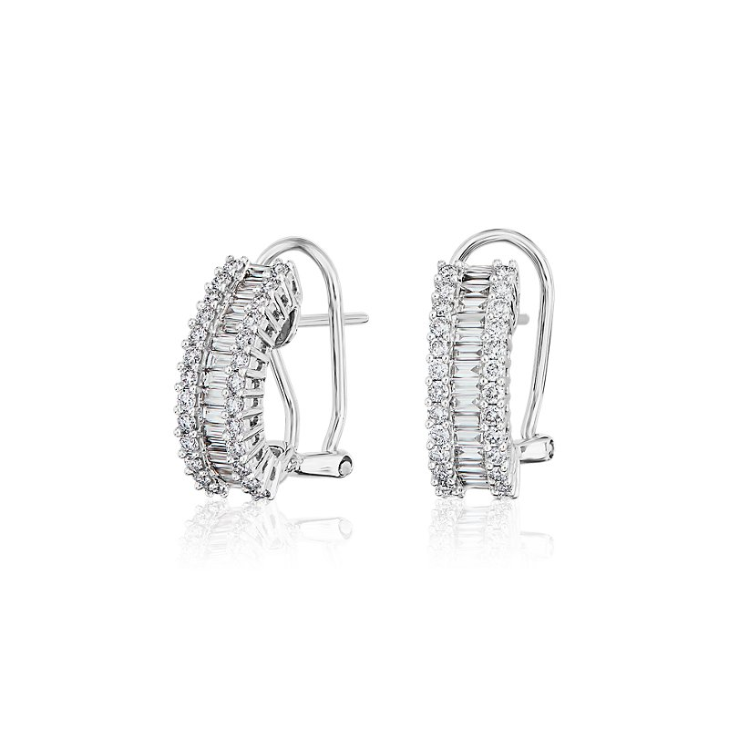 Triple Row Round and Baguette Diamond Earrings in 14k White Gold