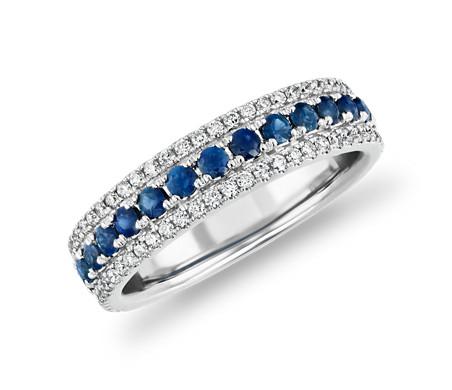 Bague avec triple rang de diamants et saphirs en or blanc 14carats (1/3carat, poids total)