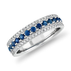 Triple Row Sapphire and Diamond Ring in 14k White Gold (1/3 ct. tw.)