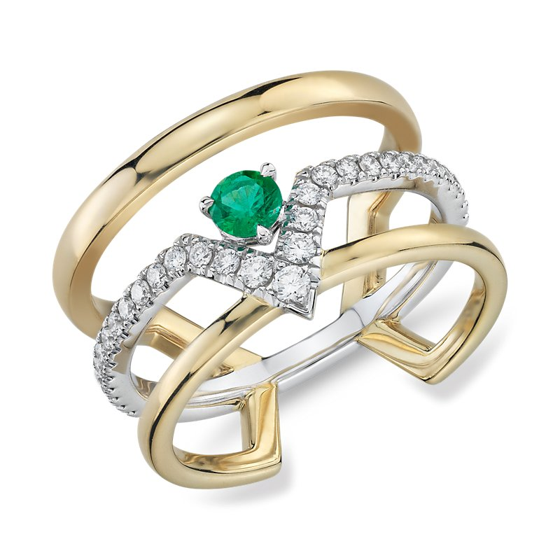 Geometric Triple Band Emerald and Diamond Ring in 18k Yellow and