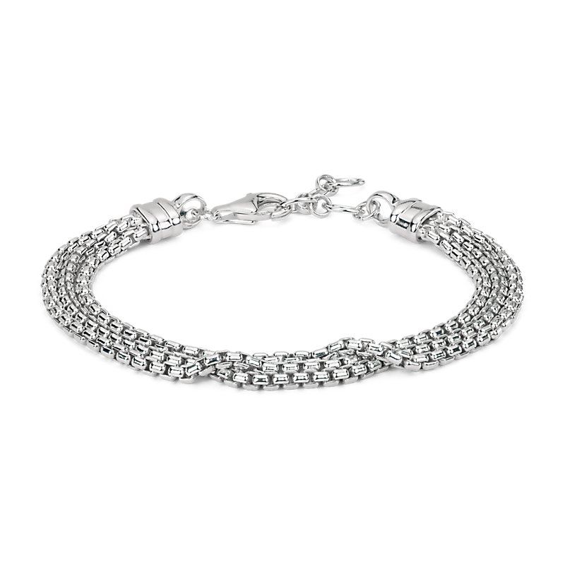 Triple Strand Box Chain Bracelet in Sterling Silver