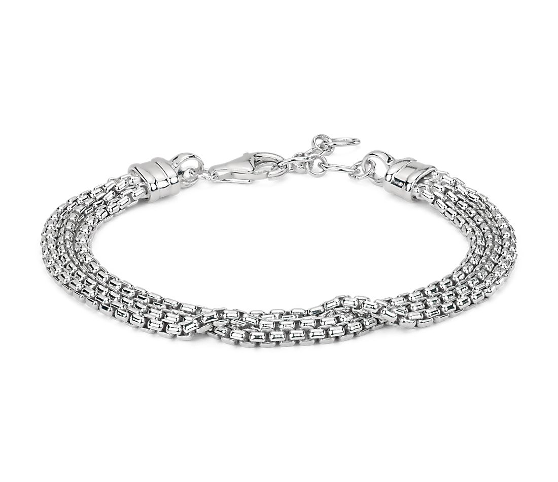Triple Strand Box Chain Bracelet In