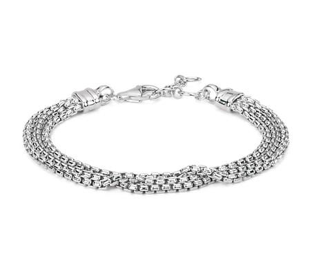 Bracelet chaîne à mailles triple rang en argent sterling