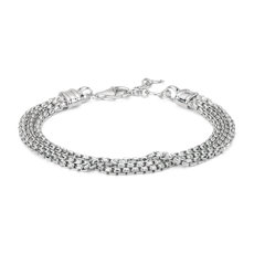 NEW Triple Strand Box Chain Bracelet in Sterling Silver