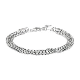 Triple Strand Box Chain Bracelet in Sterling Silver