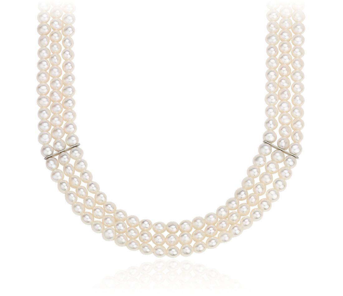 Triple-Strand Freshwater Cultured Pearl Necklace in Sterling Silver (5-6mm)