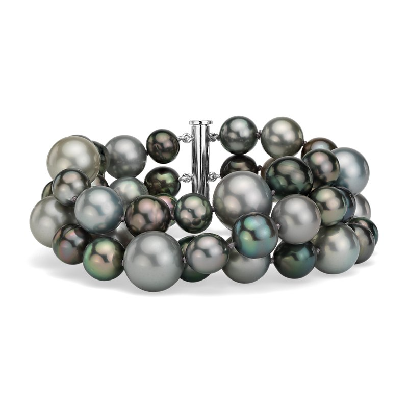 Triple-Strand Tahitian Cultured Pearl Cocktail Bracelet in 18k Wh