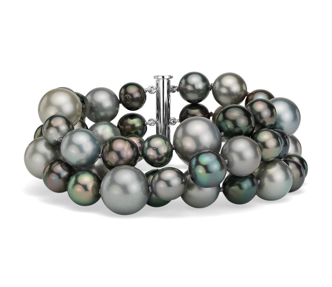 Triple-Strand Tahitian Cultured Pearl Cocktail Bracelet in 18k White Gold (8-13.5mm)
