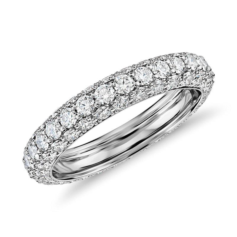 Blue Nile Studio Triple Row Diamond Eternity Ring in Platinum (1.