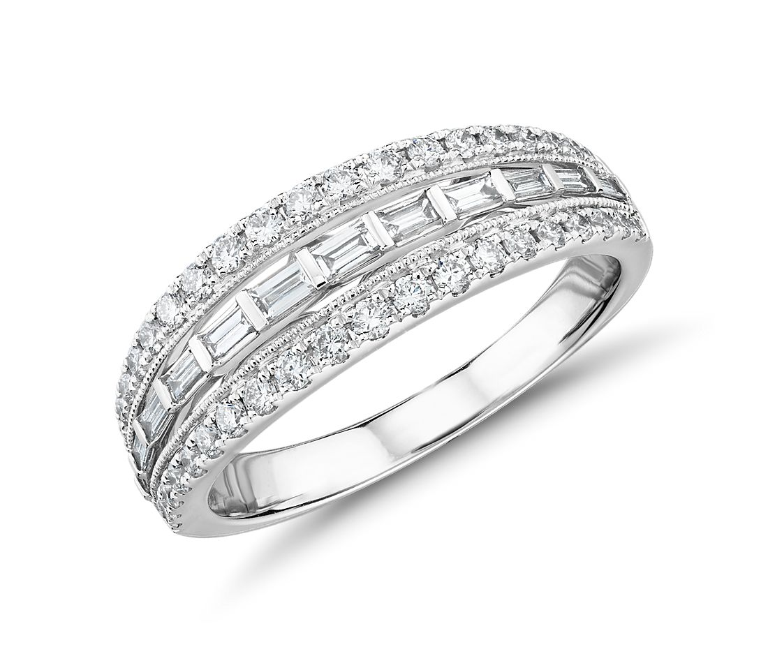 Truly Zac Posen Trio Baguette and Milgrain Diamond Ring in 14k White Gold (3/5 ct. tw.)