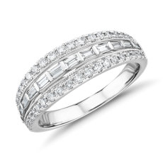 ZAC Zac Posen Trio Baguette and Milgrain Diamond Ring in 14k White Gold