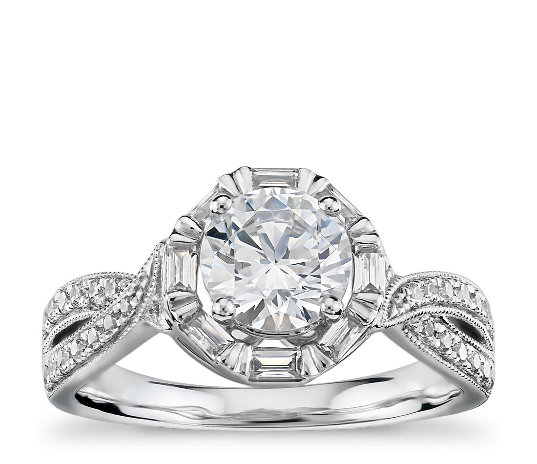 Truly Zac Posen Baguette Twist Halo Diamond Engagement