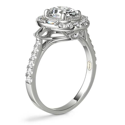ZAC Zac Posen Oval Vintage Baguette Halo Diamond Engagement Ring