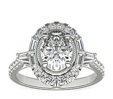 14k 白金ZAC Zac Posen 橢圓復古長方形鑽石光環訂婚戒指(1/2 克拉總重量)
