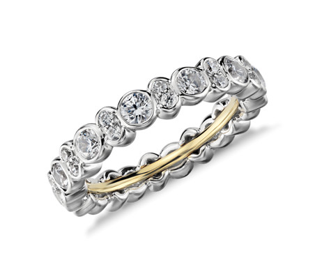 bands wedding round ring stacked gold diamond set white bezel band eternity milgrain full rings