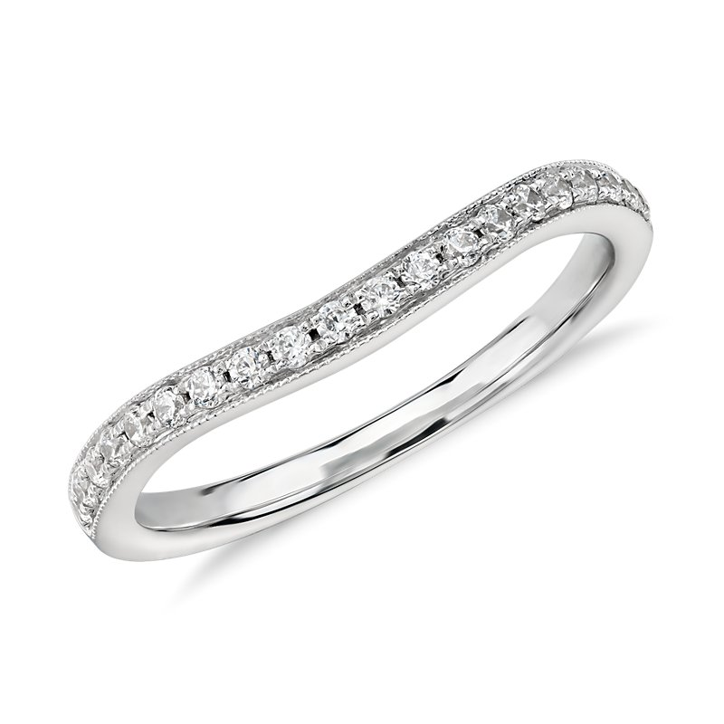 Truly Zac Posen Milgrain Curved Diamond Ring in 14k White Gold (1