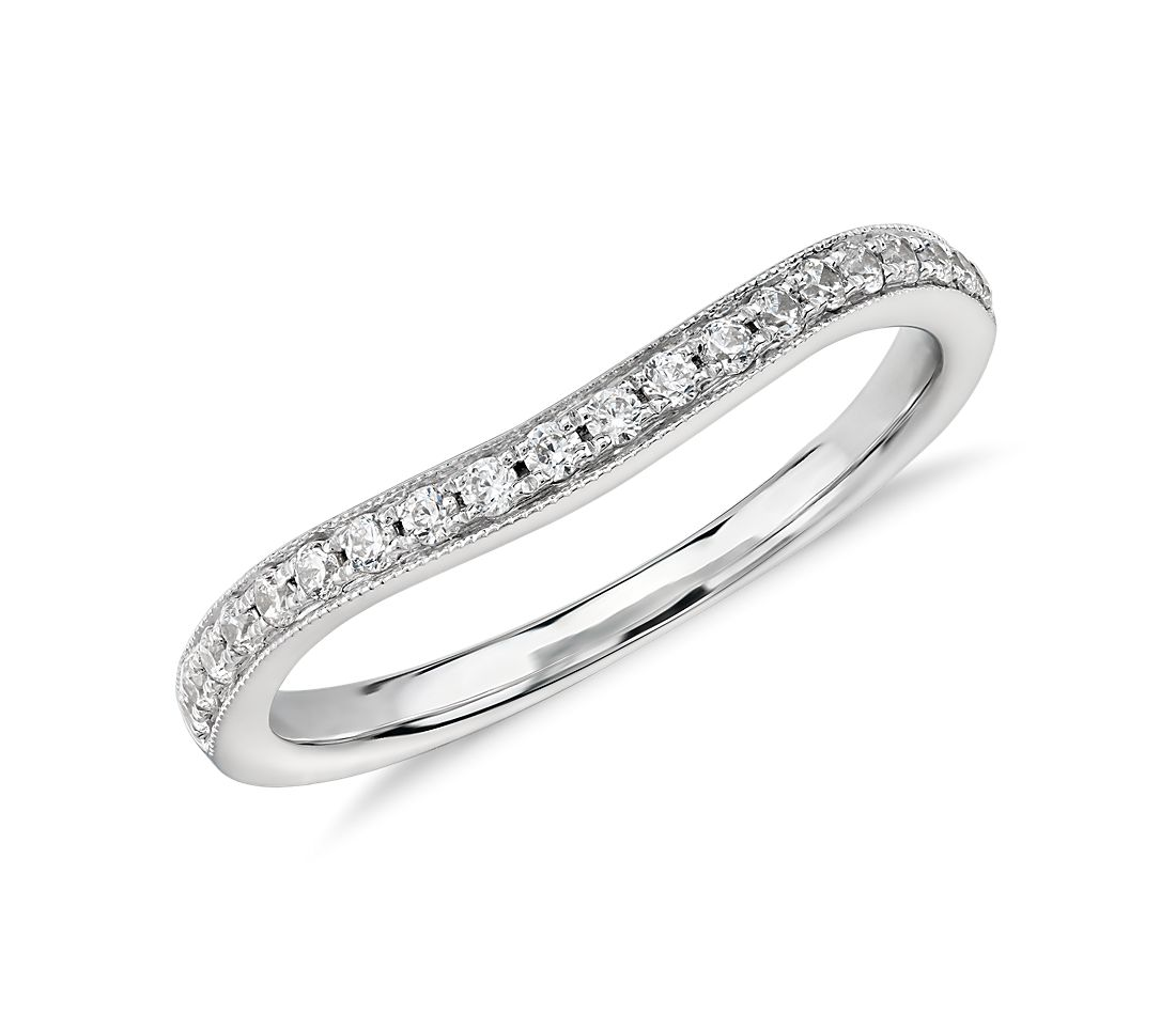 ZAC Zac Posen Milgrain Curved Diamond Ring in 14k White Gold