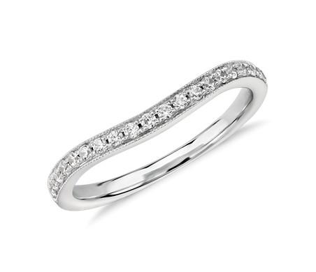 Anillo de diamantes curvo con cinta milgrain Truly de Zac Posen en oro blanco de 14 k (1/4 qt. total)