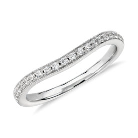 NEW Truly Zac Posen Milgrain Curved Diamond Ring in 14k White Gold (1/4 ct. tw)
