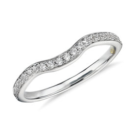 NEW Truly Zac Posen Curved Diamond Ring in 14k White Gold (3/16 ct. tw)