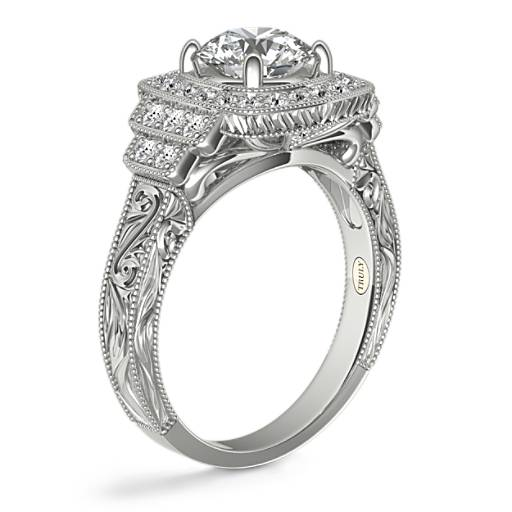 ZAC Zac Posen Cushion Halo Hand-Engraved Milgrain Diamond Engagement Ring