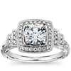Truly Zac Posen Cushion Halo Hand-Engraved Milgrain Diamond Engagement Ring in Platinum