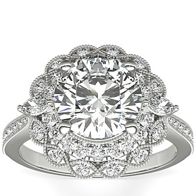 ZAC Zac Posen Marquise Double Halo Diamond Engagement Ring in 14k White Gold (3/8 ct. tw.)