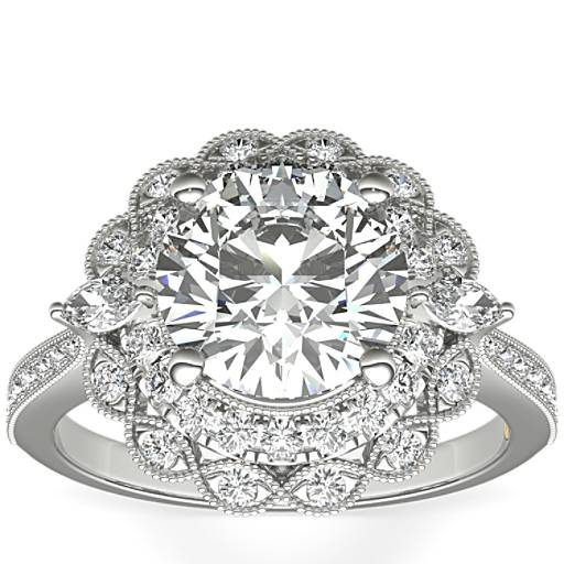 Engagement Rings Zac Posen: ZAC Zac Posen Marquise Double Halo Diamond Engagement Ring