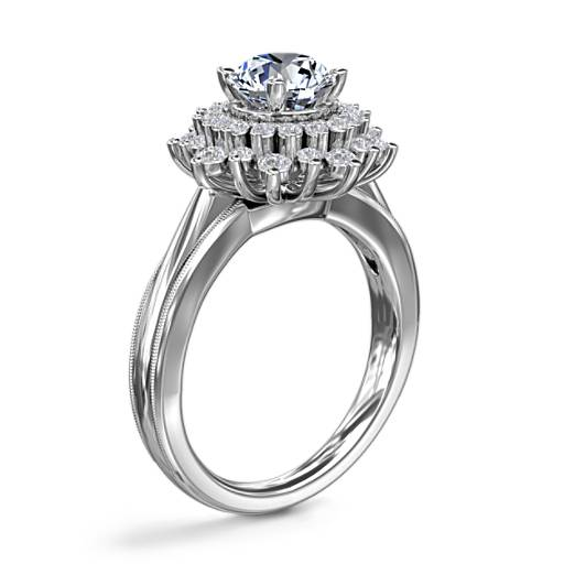 ZAC Zac Posen Double Sunburst Diamond Halo Engagement Ring