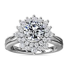 ZAC Zac Posen Double Sunburst Diamond Halo Engagement Ring in 14k White Gold (5/8 ct. tw.)