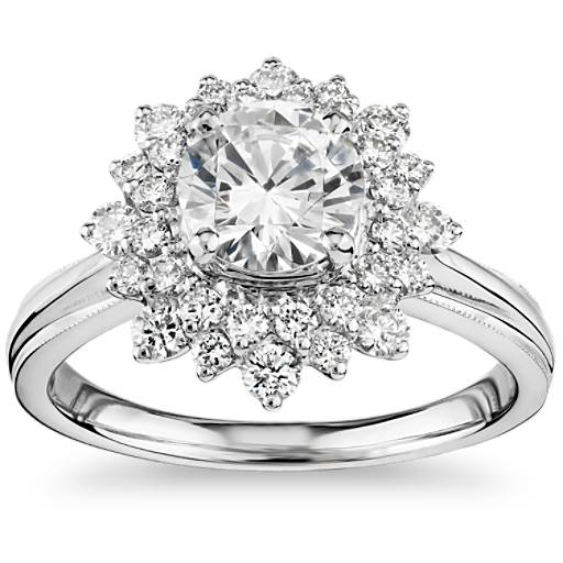 Truly Zac Posen Double Sunburst Diamond Halo Engagement