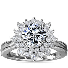 ZAC Zac Posen Double Sunburst Diamond Halo Engagement Ring in 14k White Gold (5/8 ct. tw.)