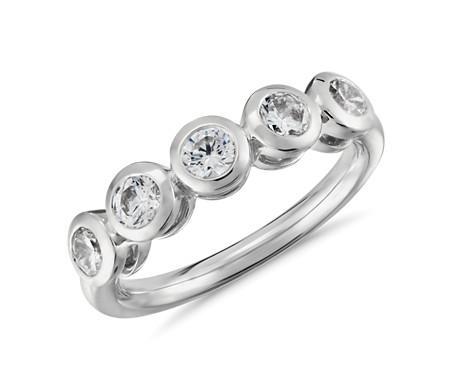 Truly Zac Posen Five-Stone Bezel-Set Diamond Ring in Platinum