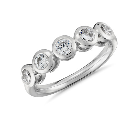 Truly Zac Posen Five-Stone Bezel-Set Diamond Ring in Platinum