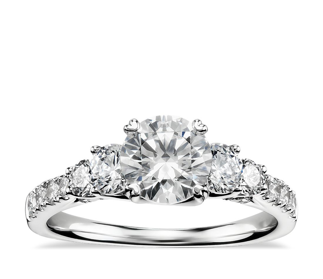 truly zac posen five stone trellis diamond engagement ring in platinum 45 ct tw - Stone Wedding Rings