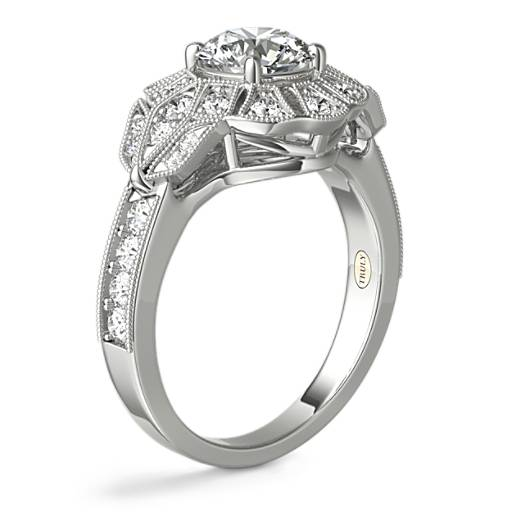ZAC Zac Posen Milgrain Floral Open Halo Diamond Engagement Ring