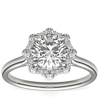 ZAC Zac Posen Floral Halo Diamond Engagement Ring in 14k White Gold (1/6 ct. tw.)