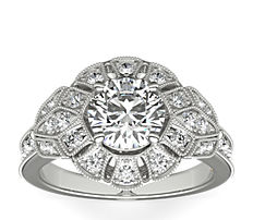 ZAC Zac Posen Milgrain Floral Open Halo Diamond Engagement Ring in 14k White Gold