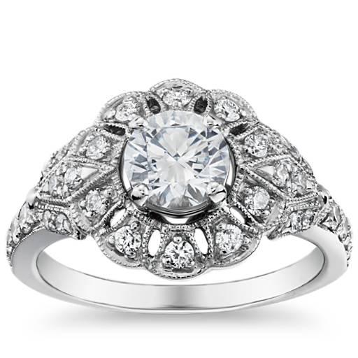 Engagement Rings Zac Posen: Truly Zac Posen Milgrain Floral Open Halo Diamond