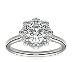 ZAC Zac Posen Floral Halo Diamond Engagement Ring in 14k White Gold