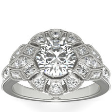 ZAC Zac Posen Milgrain Floral Open Halo Diamond Engagement Ring in 14k White Gold