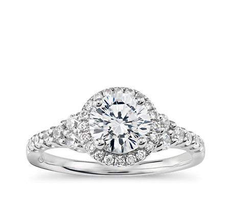 Truly Zac Posen Graduated Halo Diamond Engagement Ring in 14k White Gold (2/5 ct. tw.)