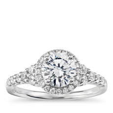 ZAC Zac Posen Graduated Halo Diamond Engagement Ring in 14k White Gold (2/5 ct. tw.)