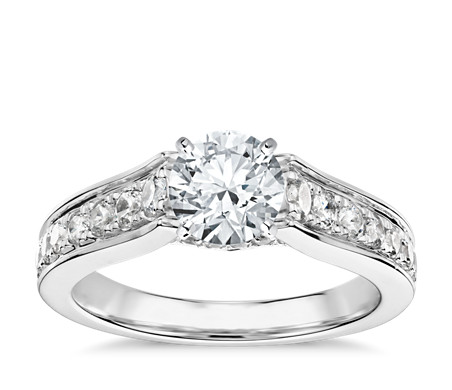 Truly Zac Posen Graduated Pavé Diamond Engagement Ring in Platinum (1/2 ct. tw.)