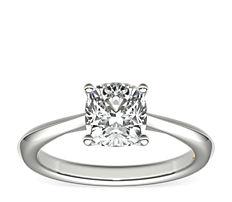ZAC Zac Posen Knife-Edge Solitaire Engagement Ring in Platinum